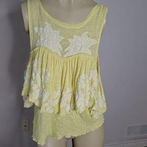 Free people - yellow ruffle blouse